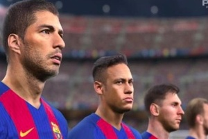 FACT: PES graphics are so good you can see Suarez realise he's the only Barca striker paying tax. #f