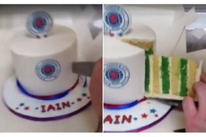 Class: A Celtic fan pranks his Rangers supporting mate with this cake... #football #soccer #celtic #