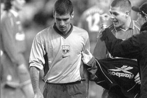 A young Steven Gerrard asking Pep Guardiola to shake his hand after beating Barcelona 1-0 in 2001...