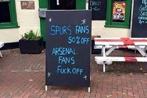 Seen outside a North London pub... #football #soccer #spurs #tottenham #arsenal #premierleague