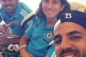 When Fabregas took a selfie with his mum and dad... #football #soccer #chelsea
